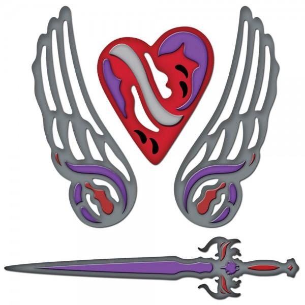 Engelsflügel, Herz u. Schwert / fallen angel S4-299