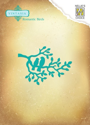 Nellie Snellen Stanz-u. Prägeform Vögel auf Ast / Romantic Branch VIND039 ( türkis )