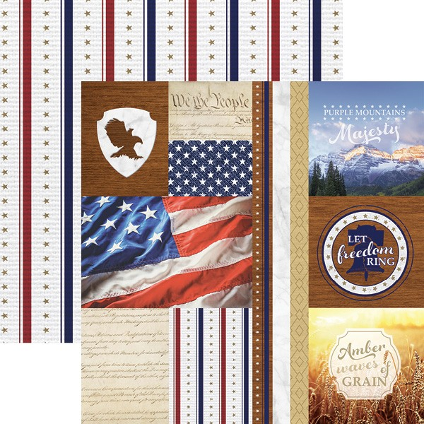 "Paper House Scrapbook Papier Let Freedom Ring Tags 12 "" x 12 "" P-2094"