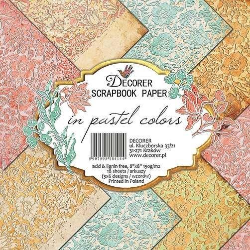 """Decorer Paper Pack 8 """" x 8 """" PASTEL COLORS B15-414"""