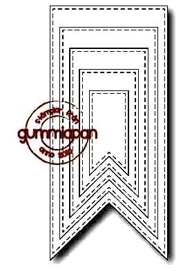 Gummiapan Stanzform Banner breit mit Nähnaht / Stitched Banners D170362