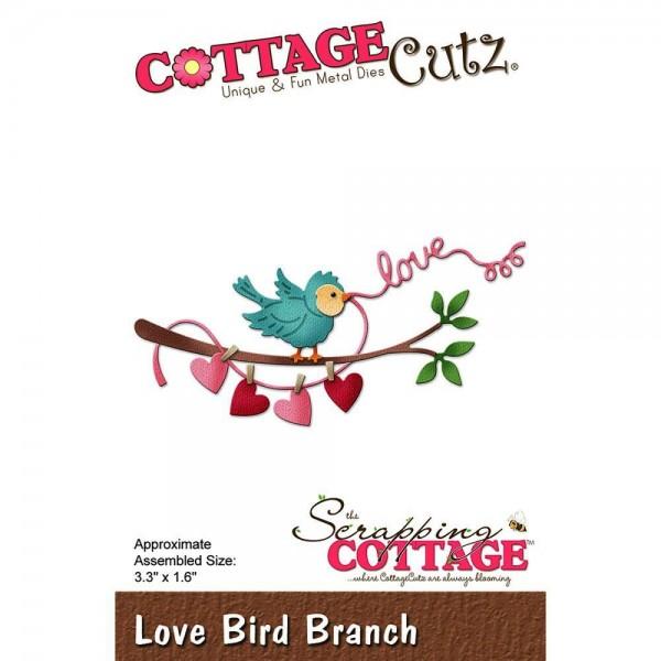 CottageCutz Stanzform Zweig mit Vogel, Herzen u. ' love ' / Love Bird Branch CC-263