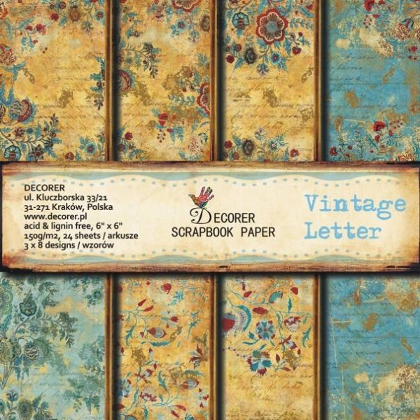 "Decorer Paper Pack 6 "" x 6 "" VINTAGE LETTER C3-205"