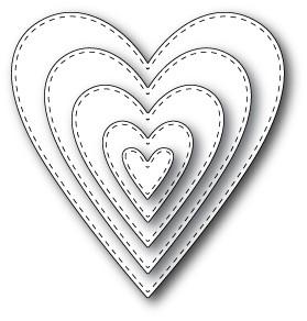 Memory Box Stanzform Herz gestickt / Stitched Heart Layers 30013