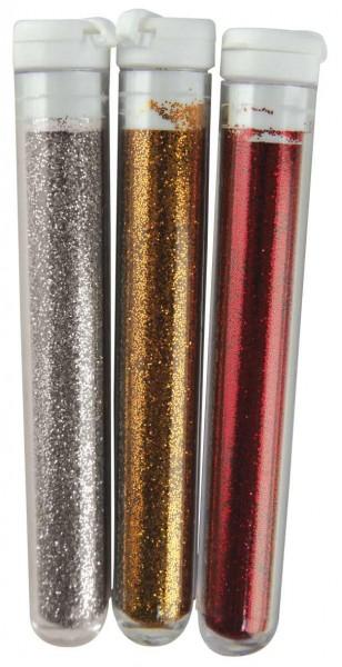 Feinflitter Silber-Gold-Kupfer Töne in Glasröhrchen 39-400-00