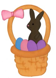 Bosskut Stanzform Schoko-Hase im Korb / chocolate bunny and basket 0343