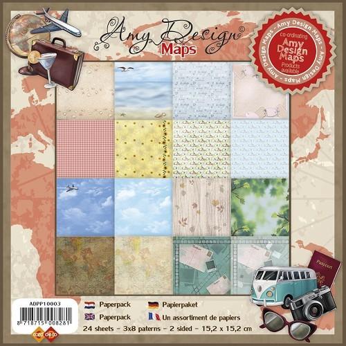 Amy Design Paperpack MAPS 15,2 cm x 15,2 cm ADPP10003