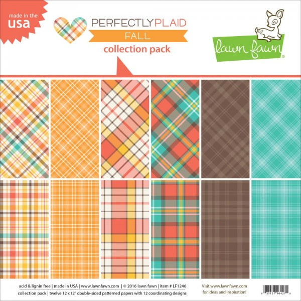 "Lawn Fawn Papier Block 12 "" x 12 "" Perfectly Plaid FALL LF1246"