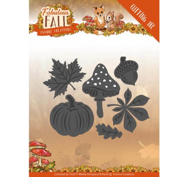 Yvonne Creations Stanzform Blätter, Pilz, Eichel u. Kürbis / Autumn Leaves YCD10149
