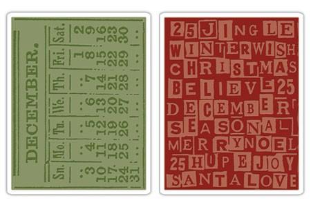 Sizzix Prägefolderset December Calendar & Holiday Words Set 656941