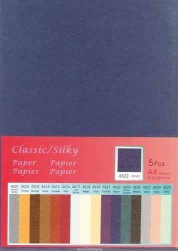 Papier A 4 Classic Silky DUNKELBLAU ( 5 Blatt ) 652000/4622