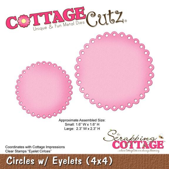 CottageCutz Stanzform Kreise gewellt mit Löcher / circles w / eyelets SC-CC4x4-309