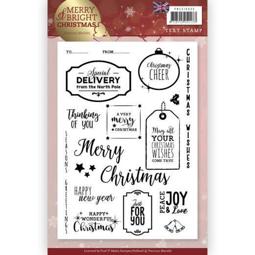 Weihnachtssprüche In Englisch.Precious Marieke Clearstempel Weihnachtssprüche Englisch Merry And Bright Christmas Pmcs10035