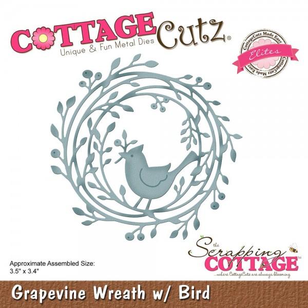 CottageCutz Stanzform Kranz mit Vogel / Grapevine Wreath w/ Bird CCE-515