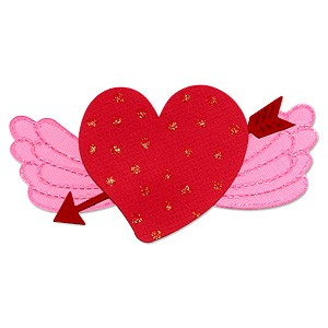 Sizzix Stanzform Originals LARGEHerz mit Fügel u. Pfeil / heart , wing & arrow 655686