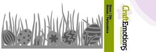 CraftEmotions Stanzform Gras mit Ostereier / Grass Edge with Easter Eggs 115633/0207