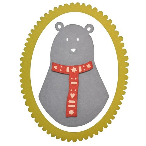 Sizzix Thinlits Stanzform Bär mit Schal u. Rahmen oval / Loving Bear 660880