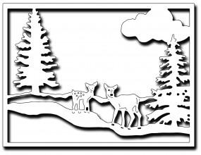 Frantic Stampers Stanzform Kartensilhouette Winterlandschaft mit Rehen/Winter Wonderland Card Panel