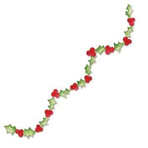 Sizzix Stanzform Sizzlits Border Girlande Blätter u. Beeren/garland holly w/berries 655528