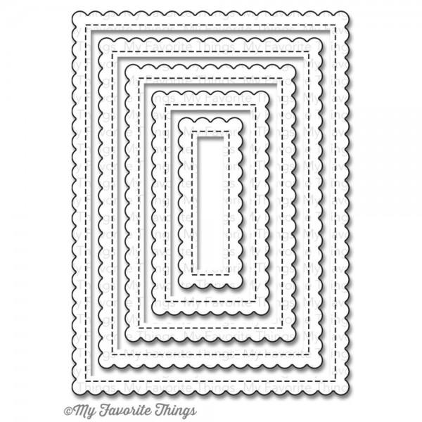 Dienamics Stanzform Rechtecke gewellt klein mit Nähnaht/Stitched Mini Scallop Rectangle STAX MFT-791