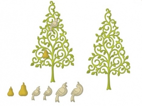 CottageCutz Stanzform Baum,Taube u. Birne/Partridge & A Pear Tre