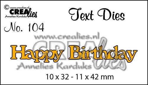 Crealies Stanzform Worte ' Happy Birthday ' CLTD104