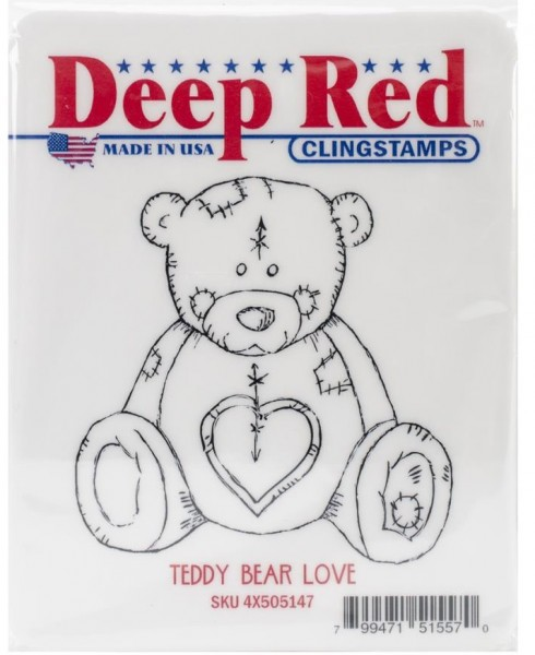 Deep Red Cling Stempel Teddy Bear Love 4x505147