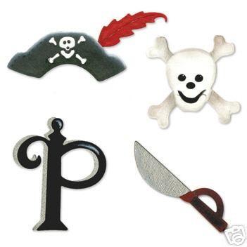 Sizzix Stanzform Sizzlits SMALL 4-er Set Piraten-Set / pirate set 655473