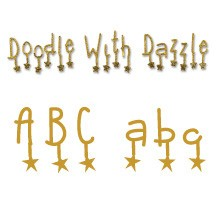 Sizzix Stanzform Sizzlits 9-er Alphabet Doodle with Dazzle 654818