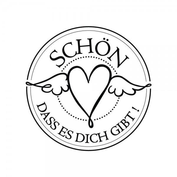 """Rayher Holz-Stempel rund Herz mit Flügel """" Schön, dass es Dich gibt ! """" 28-887-000"""