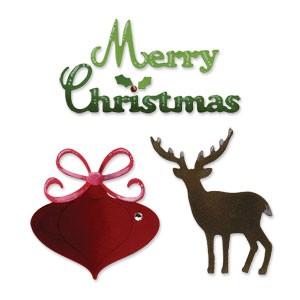 Sizzix Stanzform Sizzlits MEDIUM 3-er Weihnachtsset /Merry Christmas Set 656285