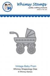 Whimsy Stamps Stanzform Kinderwagen / Vintage Baby Pram WSD336M