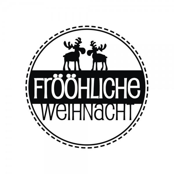 """Rayher Holzstempel rund """" Frööhliche Weihnacht"""" mit Elchen 28-872-000"""