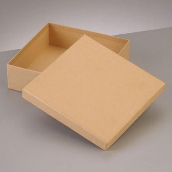 pappbox mit deckel quadratisch hell braun 16 5 x 16 5 cm. Black Bedroom Furniture Sets. Home Design Ideas