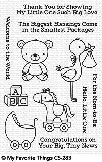 My Favorite Things Clearstempel-Set Storch, Teddy, Kinderwagen u. Spielzeug/Hello, Little One CS-283