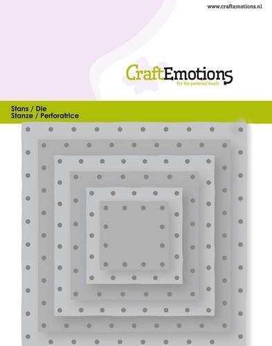CraftEmotions Stanzform Quadrate mit geprägten Löcher/Quadrate Vintage-Nieten/Squares Vintage Rivets