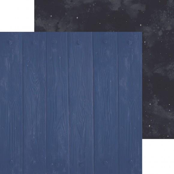 "Kaisercraft Scrabookingpapier 12 "" x 12 "" Holz-Struktur u. Nachthimmel / Stargazer Cosmic P2540"