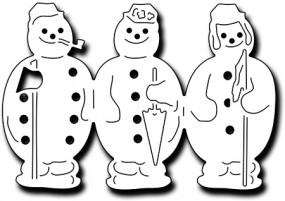 Frantic Stampers Stanzform Schneemänner 3-er / Victorian Accordian Snowmen FRA-DIE-09993