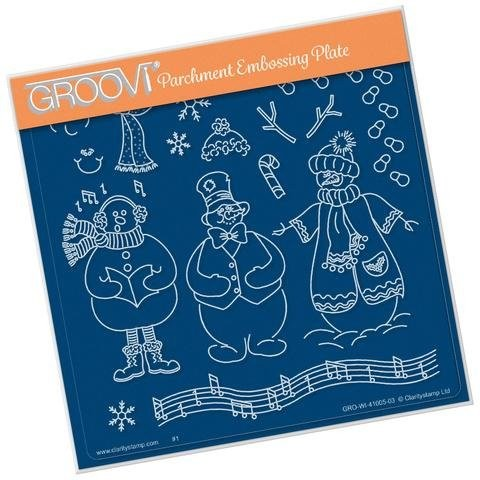 Pergamano Claritystamp GROOVI Parchment Embossing Plate Build A Snowman GRO-WI-41005-03
