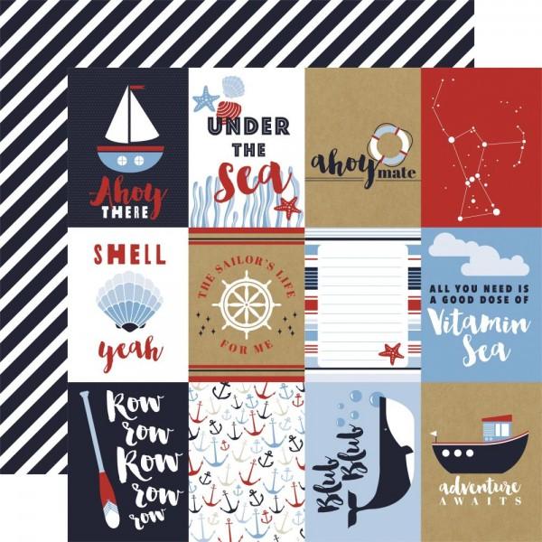 "Carta Bella Scrapbook-Papier Deep Blue Sea 3 "" x 4 "" Journaling Cards CBDB102-006"