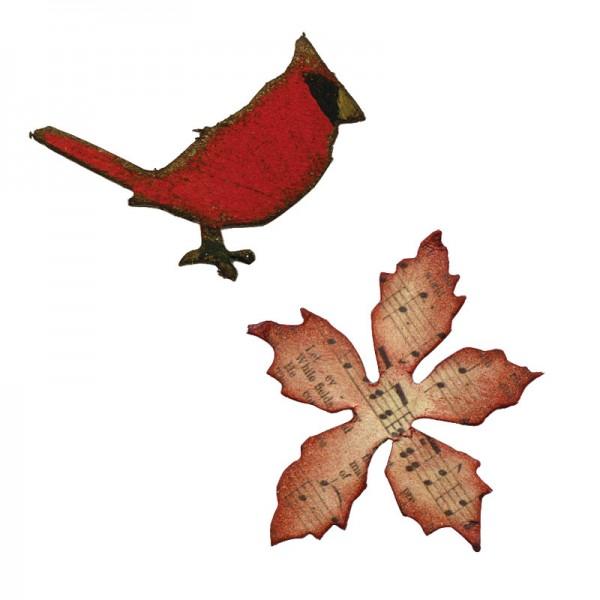 Sizzix Einsatz-Stanzform Movers & Shapers Vogel & Blume Weihnachtsstern/Mini Cardinal & Poinsettia 6