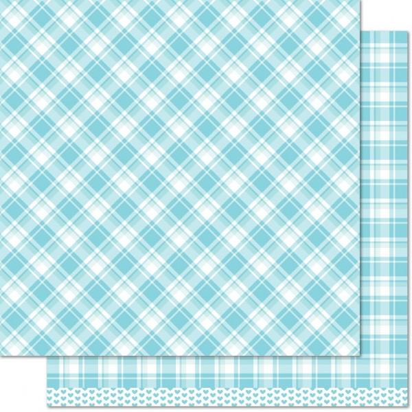 """Lawn Fawn Scrapbook-Papier Perfectly Plaid 12 """" x 12 """" Nancy ( hell-blau ) LF1113"""