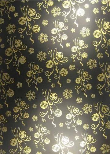 Folienkarton Weihnachtskugeln gold auf schwarz A 4