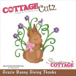 CottageCutz Stanzform Hase mit Blumen / Gracie Bunny Giving Thanks CC4x4-596