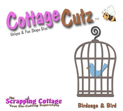 CottageCutz Stanzform Vogel u. Vogelkäfig / birdcage & bird SC CC4x4-018