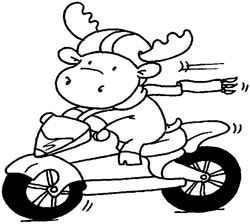 Riley Stempelgummi Elch auf Motorrad/motorcycle Riley 494969 / RWM-0162