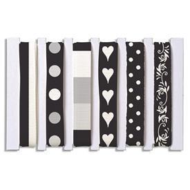 Bänder-Mischung schwarz-weiss 6 x 90 cm 78-370-01