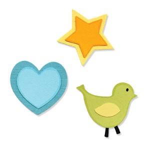 Sizzix Stanzform Sizzlits MEDIUM 3-er Vogel,Herz &Stern/bird,heart & star 656325