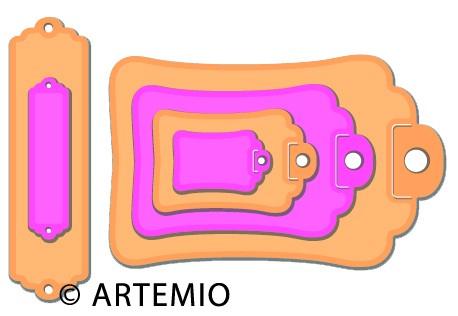 Artemio Happycut Stanz-u.Prägeformen Anhänger gewellt + Label 18042002
