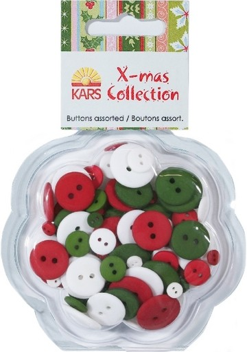 Kars XMas Collection Knopf-Set rot-grün-weiss KARS Collection 980003/0063